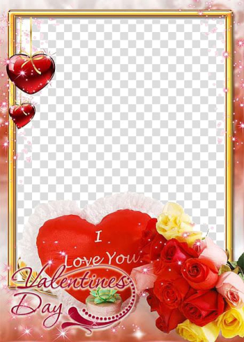 Brown and red valentines day floral frame illustration, Rose Love Valentines Day Flower , Love Frame File transparent background PNG clipart png image transparent background