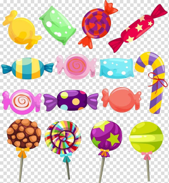Assorted-color candies and lollipops illustration, Lollipop Gummi candy Candy cane , candy transparent background PNG clipart png image transparent background