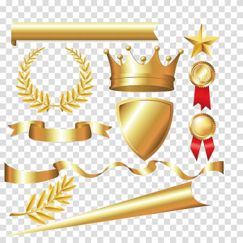 Gold sword, shield, medals, star, ribbon illustration, Laurel wreath Crown Bay Laurel Euclidean , Metal material,Tyrant gold,Imperial crown,Colored ribbon,label transparent background PNG clipart png image transparent background