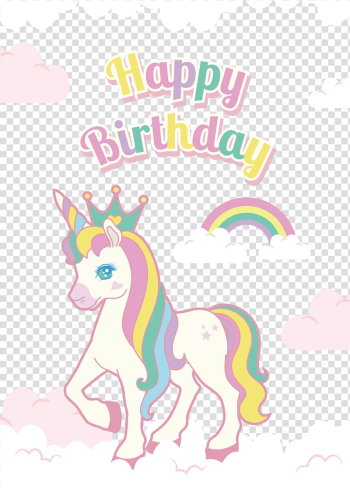 Euclidean , Hand painted color Unicorn birthday decorations, unicorn happy birthday illustration transparent background PNG clipart png image transparent background