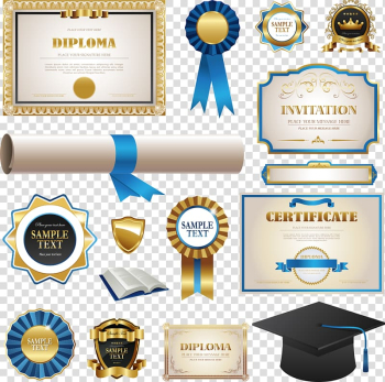 Diploma, certificate, and ribbon , Academic certificate Diploma Graduation ceremony, medal certificate design transparent background PNG clipart png image transparent background