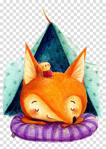 Fox sleeping on bed illustration, Red fox Drawing Watercolor painting Illustration, Cartoon fox transparent background PNG clipart png image transparent background