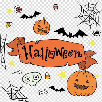 Halloween Illustration, Hand painted Halloween title box transparent background PNG clipart png image transparent background