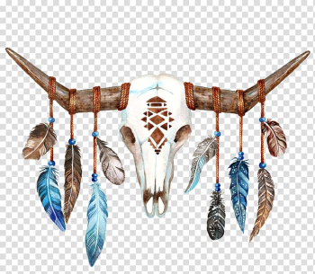 White animal skeleton with hanging feathers illustration, Texas Longhorn Skull Bull Boho-chic, Sheep skull transparent background PNG clipart png image transparent background
