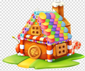 Candy house illsutration, Gingerbread house Cupcake Sweetness Candy, Colorful cartoon cabin transparent background PNG clipart png image transparent background