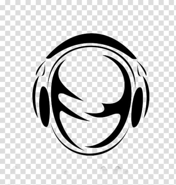 Microphone Headphones Radio, Black and white silhouette headphones head transparent background PNG clipart png image transparent background