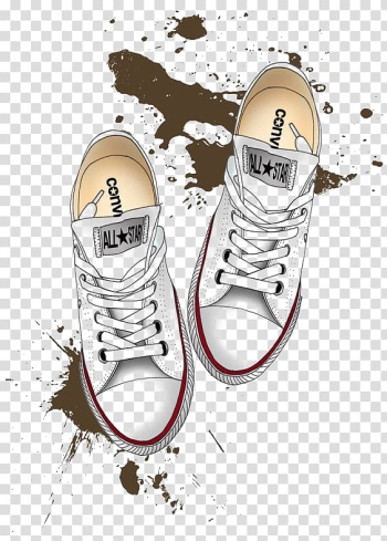 Pair of white Converse All-Star sneakers illustration, Converse Drawing Shoe Chuck Taylor All-Stars Illustration, White skateboard shoes transparent background PNG clipart png image transparent background