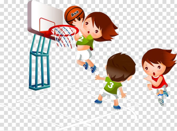 People playing basketball illustration, Basketball Cartoon Sport , Kids playing basketball transparent background PNG clipart png image transparent background