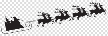 Santa Claus Reindeer Christmas , Sleigh Silhouette transparent background PNG clipart png image transparent background