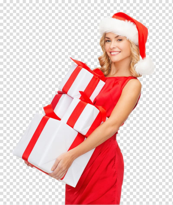Santa Claus Gift Christmas Woman with a Hat, woman transparent background PNG clipart png image transparent background