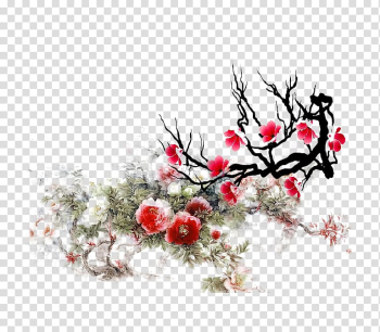 Ink wash painting Gongbi Google Baidu, Plum flower transparent background PNG clipart png image transparent background