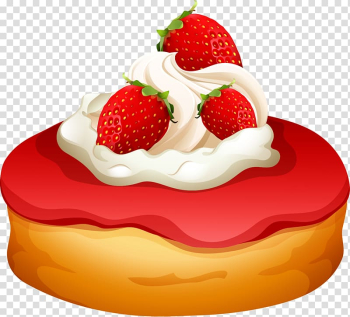 Doughnut Cheesecake Cream Fruit preserves Illustration, hand painted strawberry bread transparent background PNG clipart png image transparent background