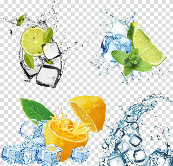 Lemon and lime fruits illustration, Ice cream Cocktail Mojito Ice cube, Fruit ice transparent background PNG clipart png image transparent background