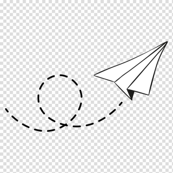 White paper kite , Airplane Paper plane, dotted line transparent background PNG clipart png image transparent background