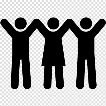 Two male and one female raising hands symbol logo, Computer Icons Icon Plaza Symbol Organization, people icon transparent background PNG clipart png image transparent background