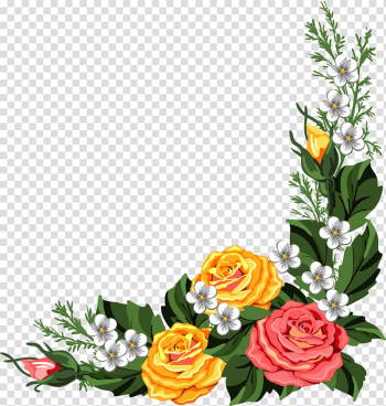 Yellow, white, and pink flowers illustration, Borders and Frames Frames Flower , Watercolor roses transparent background PNG clipart png image transparent background