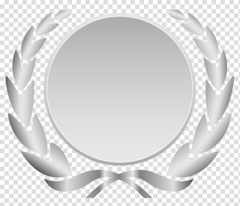 Round gray with leaves background template, Laurel wreath Silver Wall decal Bronze Ribbon, baner transparent background PNG clipart png image transparent background