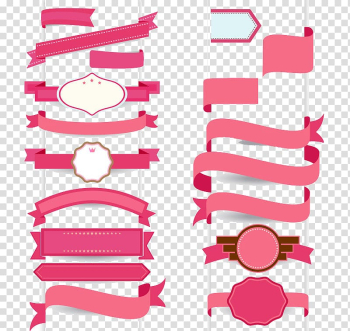 Pink ribbons illustration, Ribbon Graphic design, Flat ribbon banner cartoon transparent background PNG clipart png image transparent background