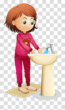 Animated girl washing hands on sink art, Washing Face , Women wash their hands transparent background PNG clipart png image transparent background