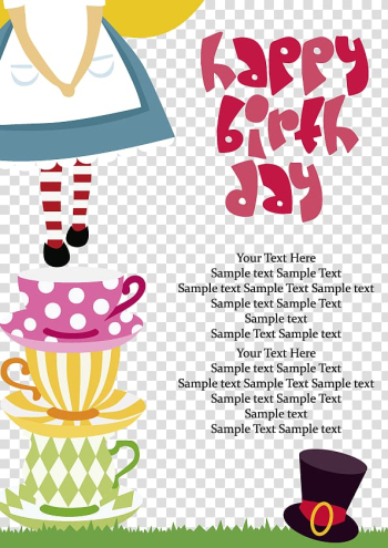 Happy birthday , Birthday cake Greeting card Wish, Alice in Wonderland birthday element transparent background PNG clipart png image transparent background