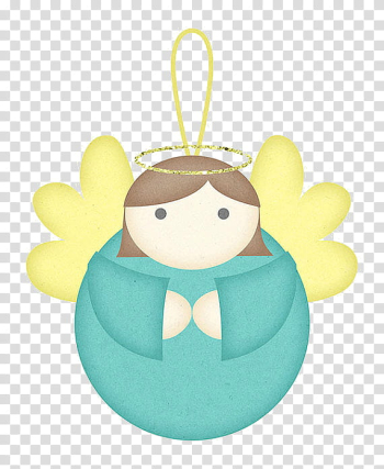 Christmas Stuff, blue and yellow angel ornament illustration transparent background PNG clipart png image transparent background