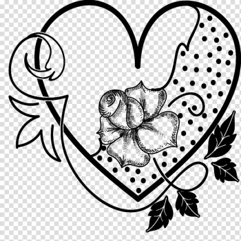 Valentine heart brushes, black and white abstract painting transparent background PNG clipart png image transparent background