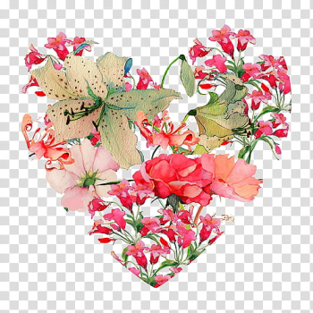 Flower s, pink-petaled flowered heart illustration transparent background PNG clipart png image transparent background