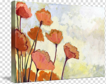 Watercolor painting Poppy Art Canvas print, painting transparent background PNG clipart png image transparent background