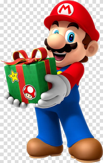 Super Mario carrying green gift box illustration, Super Mario Bros. Super Mario 3D Land Luigi, mario bros transparent background PNG clipart png image transparent background