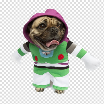 Pug Buzz Lightyear Dog breed Costume Puppy, dog comes to pay new year\'s call! transparent background PNG clipart png image transparent background