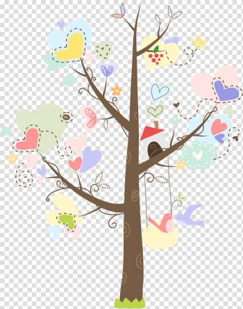 Multicolored birdhouse on heart tree illustration, Wedding invitation Paper Packaging and labeling , Giving Tree transparent background PNG clipart png image transparent background