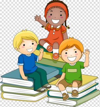 Three characters sitting on book pile art, Child Learning Teacher , Three children transparent background PNG clipart png image transparent background