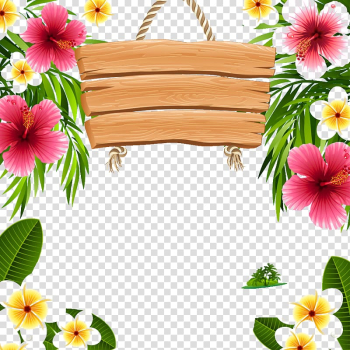 Flowers illustration, Hawaii Frames , Simple wooden tag transparent background PNG clipart png image transparent background