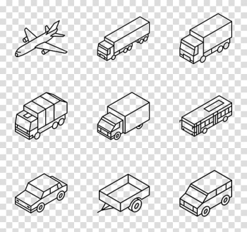 Nine assorted vehicles illustration, Car Computer Icons Isometric projection Truck, simple lines transparent background PNG clipart png image transparent background