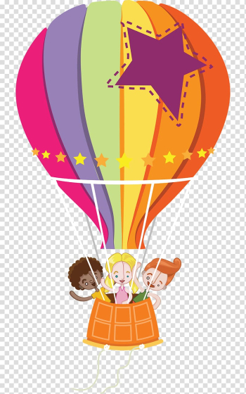 Three children on multicolored hot air balloon , Mundo Bita Bita e os Animais Voa Voa Passarinho Balloon Party, balloon transparent background PNG clipart png image transparent background