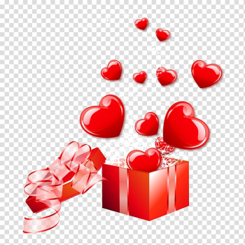 Vecteur, Fly out of the gift box of love material transparent background PNG clipart png image transparent background