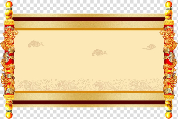 Yellow and red dragon-themed scroll paper, Paper Edict Scroll, Dragon stick horizontal scrolling transparent background PNG clipart png image transparent background