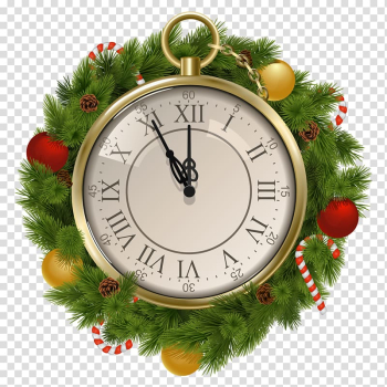 Christmas New Year Clock , Clock transparent background PNG clipart png image transparent background