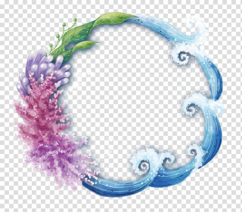 Round nature frame, Ocean Wind wave Clownfish, water,flower transparent background PNG clipart png image transparent background