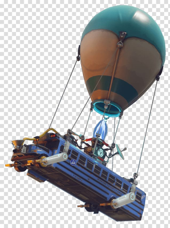 Fortnite Battle Royale Bus PlayerUnknown\'s Battlegrounds Battle royale game, looting, air balloon carrying bus on air transparent background PNG clipart png image transparent background