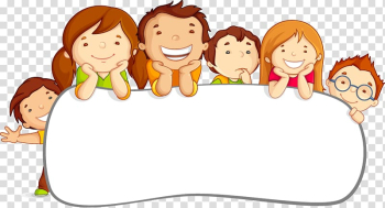 Child Cartoon Illustration, Card child children cute border, six children on white pad illustration transparent background PNG clipart png image transparent background