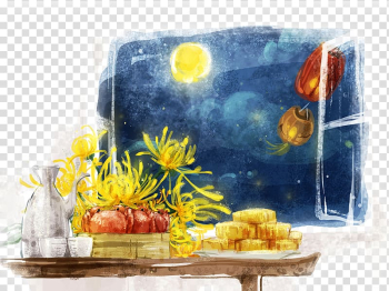Yellow petaled flowers on table near red crabs painting, China Mooncake Mid-Autumn Festival Illustration, Mid Autumn Festival ink painting transparent background PNG clipart png image transparent background