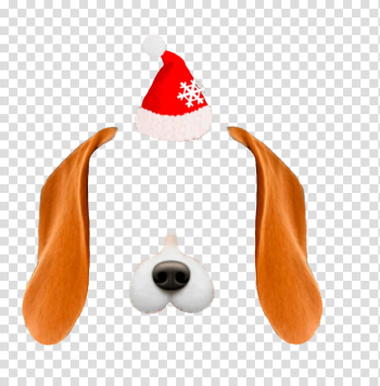 Snow christmas , brown and white dog and Santa hat illustration transparent background PNG clipart png image transparent background