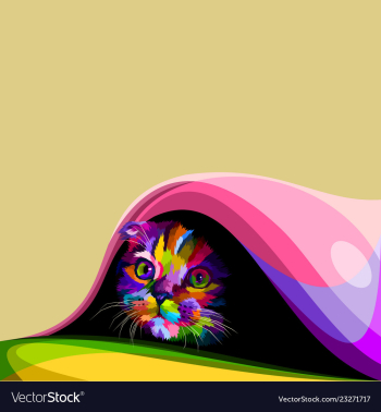 Colorful cute little cat hiding in the blanket vectorimage