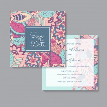 Floral wedding template  pink and blue floral cards set Free Vector png image transparent background