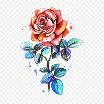 Tattoo, Floral Design, Watercolor Painting, Flower, Rose PNG png image transparent background