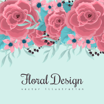 Flower border drawing pink flowers at mint green background Free Vector png image transparent background