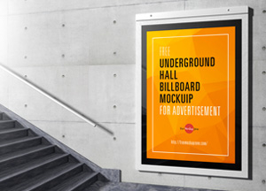 Free Underground Hall Billboard Mockup For Advertisement hee underground hall billboard mockuip for advertisement