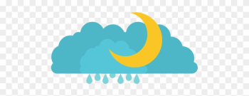 Clouds With Rain And Half Moon In Colorful Silhouette - White png image transparent background