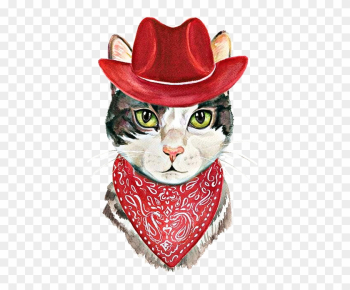 Harriet Bee 'cowboy Cat' Framed Painting Print, Red png image transparent background